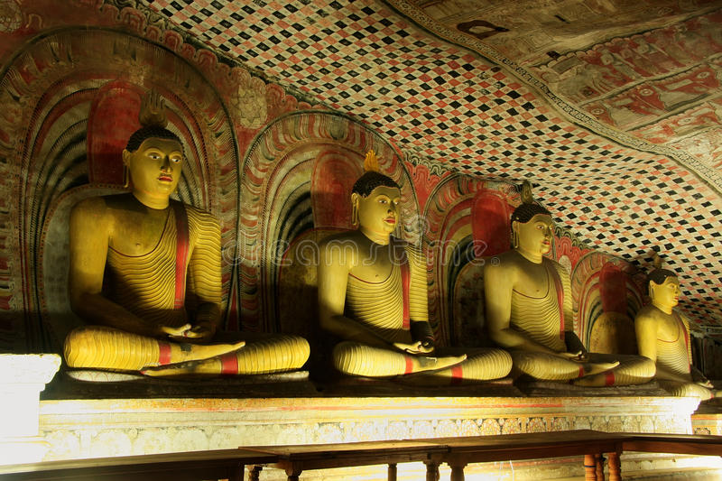 Interior of Dambulla Golden Temple in Sri Lanka. It is the largest and best preserved cave temple complex in the country stock photo