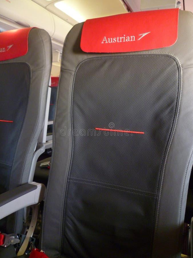 Interior de Airbus A319 - Austrian Airlines imágenes de archivo libres de regalías