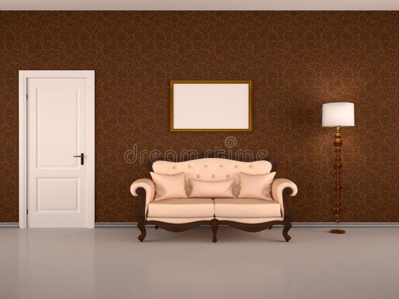 Interior de Brown com uma porta, ilustração royalty free