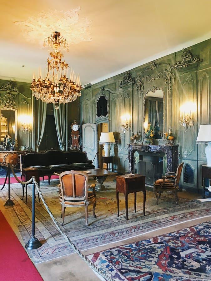 Interior de Casa de campo del Balbianello, Itália foto de stock royalty free