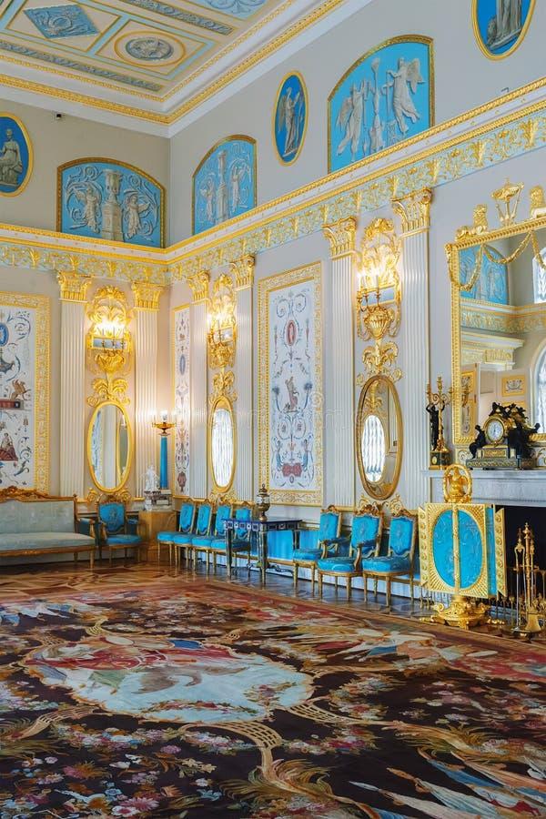 Interior de Catherine Palace en Tsarskoye Selo, St Petersbu foto de archivo