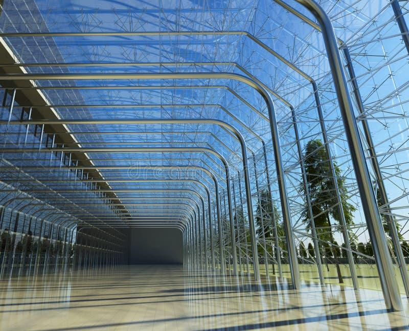 Interior de cristal transparente con luz del sol ilustración del vector