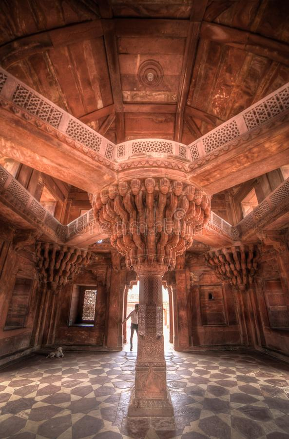 Interior de Diwan-i-Khas, parte do complexo de Fatehpur Sikri fotos de stock royalty free