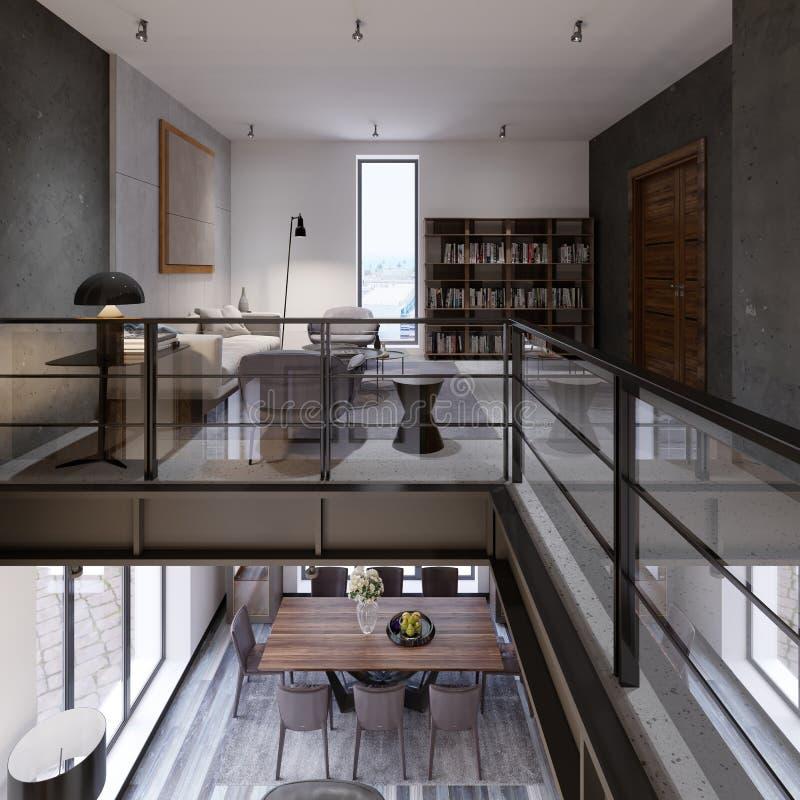 Interior de dos niveles del desván-estilo con una sala de estar y un comedor y una verja de cristal del co de las transiciones al stock de ilustración