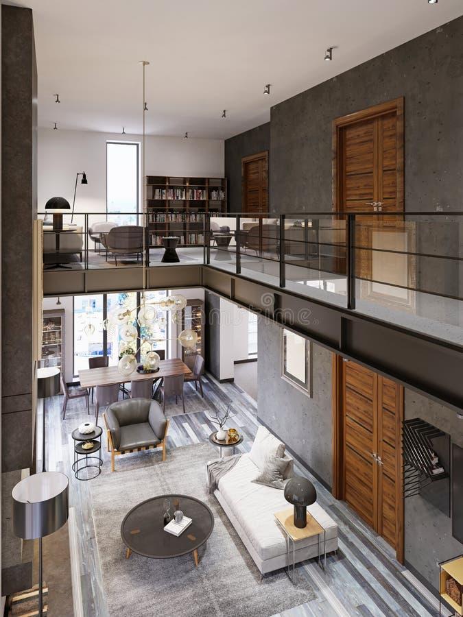 Interior de dos niveles del desván-estilo con una sala de estar y un comedor y una verja de cristal del co de las transiciones al libre illustration