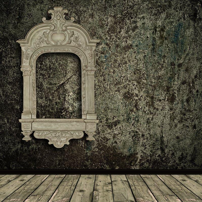 Interior de Grunge com frame do vintage ilustração royalty free
