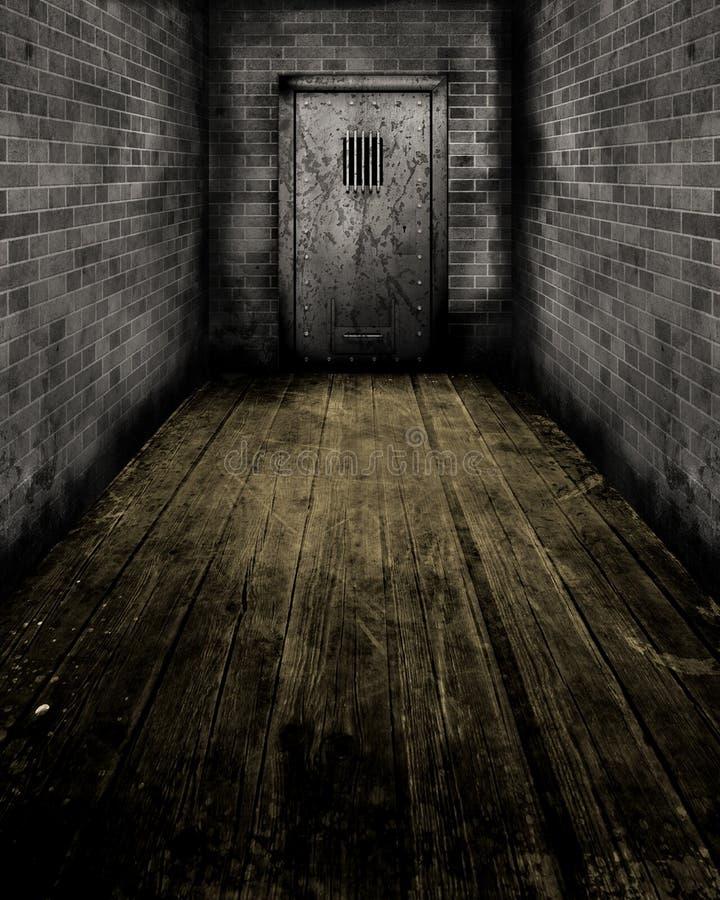Interior de Grunge com uma porta da prisão ilustração do vetor