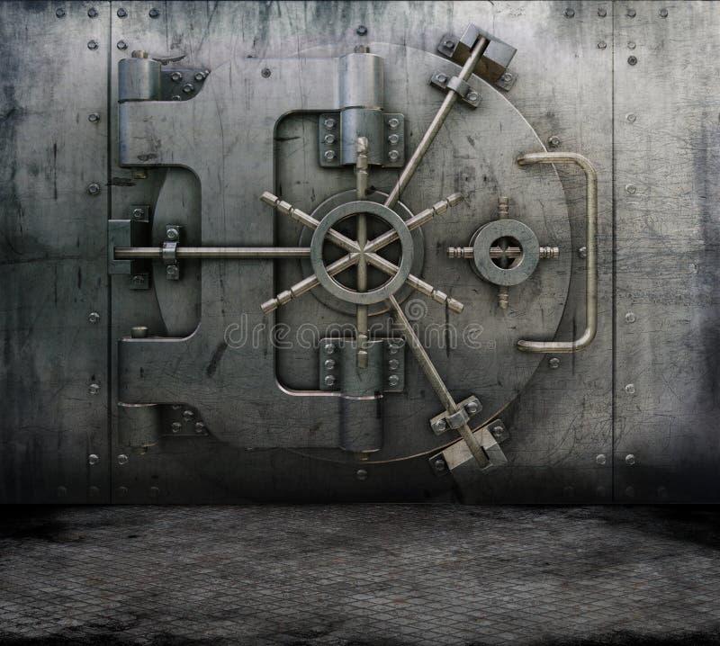 Interior de Grunge con la cámara acorazada de batería stock de ilustración