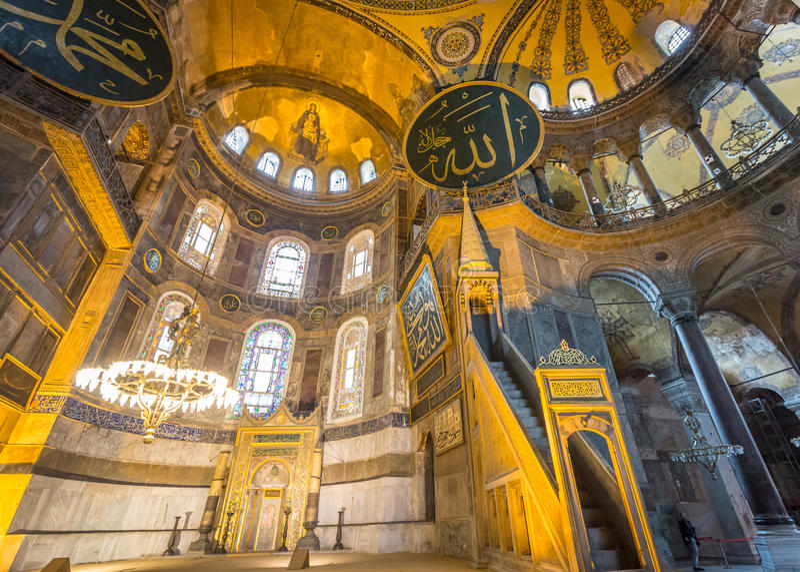 Interior de Hagia Sófia, Istambul, Turquia foto de stock royalty free