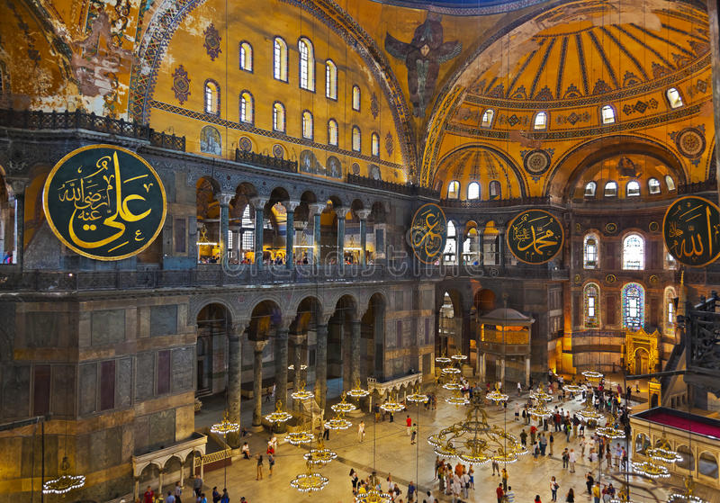 Interior de Hagia Sophia em Istambul Turquia imagens de stock royalty free