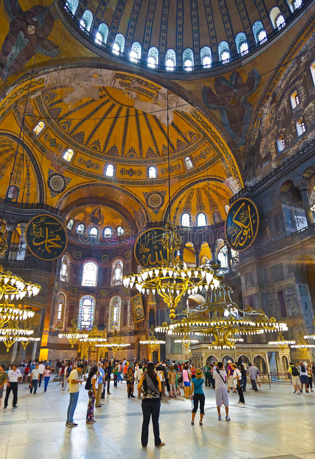 Interior de Hagia Sophia em Istambul Turquia fotos de stock royalty free