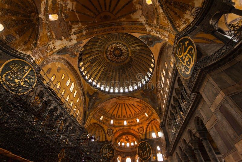 Interior de Hagia Sophia em Istambul Turquia - fundo da arquitetura fotografia de stock royalty free