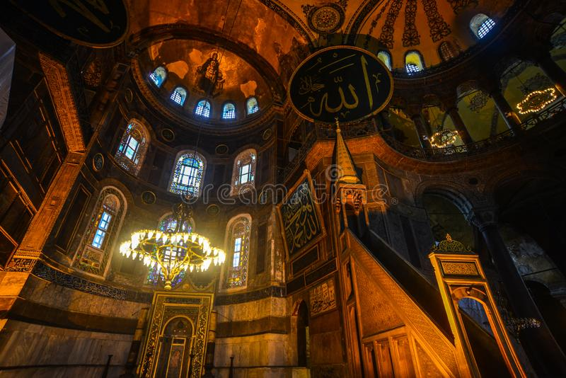 Interior de Hagia Sophia em Istambul, Turquia fotos de stock royalty free