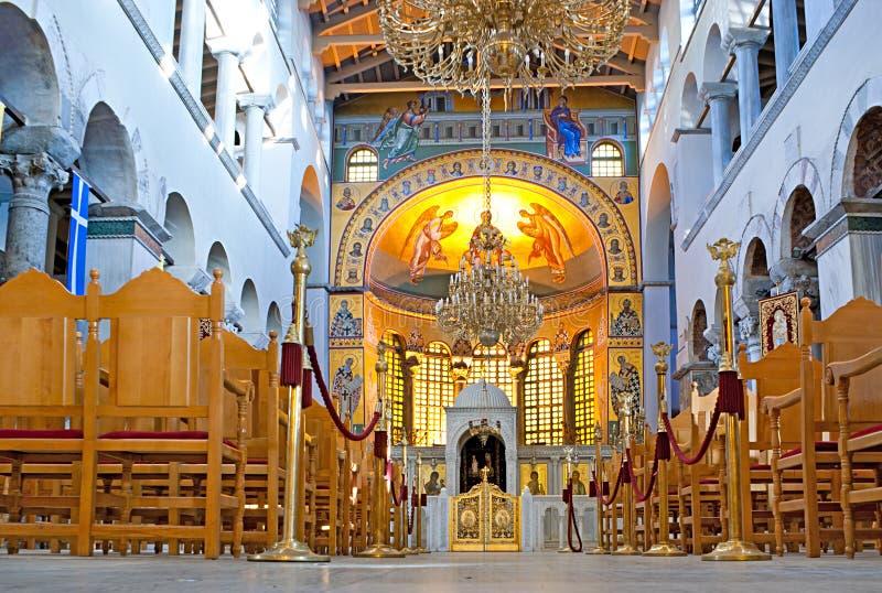 Interior de Hagios Demetrios fotos de archivo libres de regalías