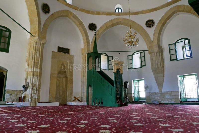 Interior de Hala Sultan Tekke Mosque cerca de Larnaca, Chipre foto de archivo libre de regalías