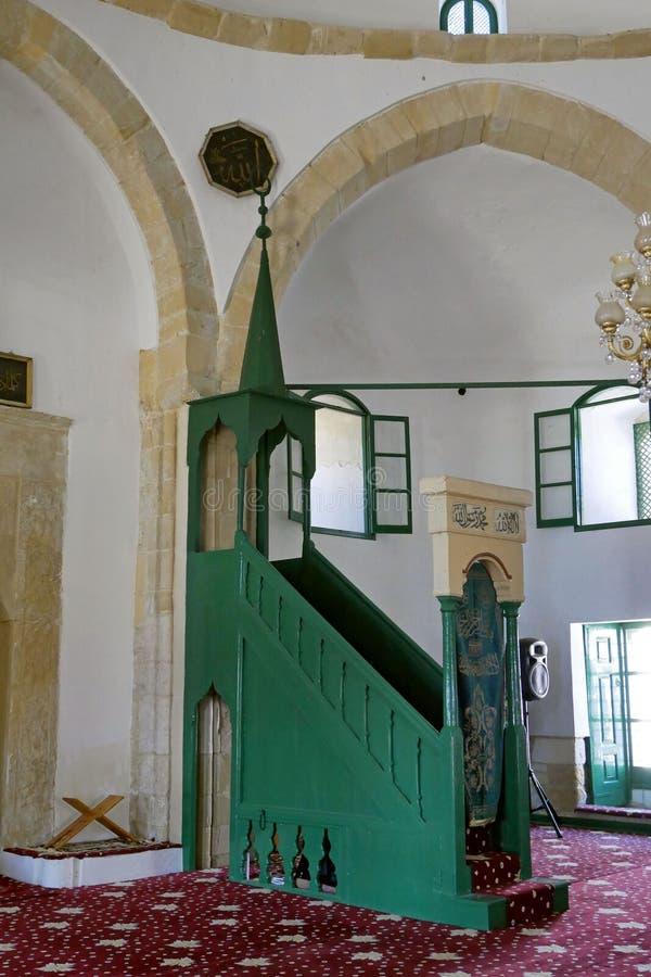 Interior de Hala Sultan Tekke Mosque cerca de Larnaca, Chipre imagen de archivo