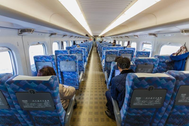Interior de Hikari Shinkansen fotografía de archivo libre de regalías