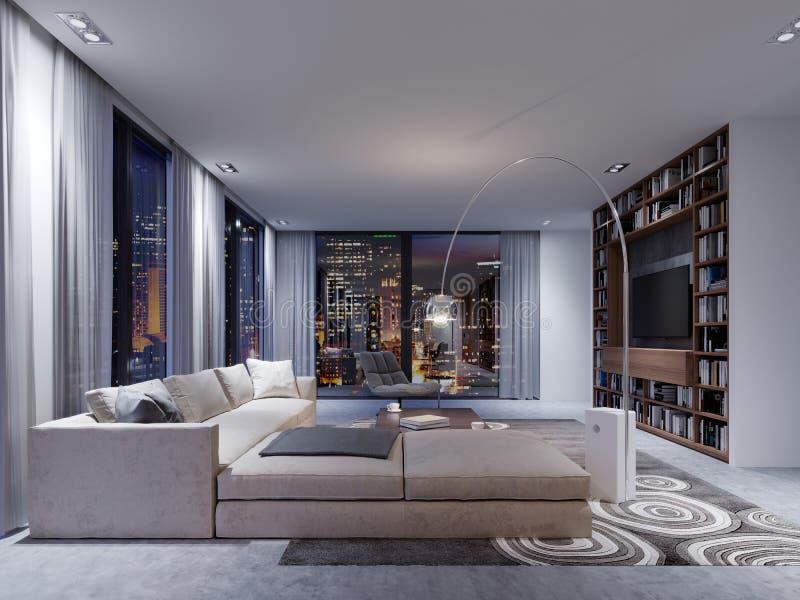 Interior de igualación increíblemente hermoso de la sala de estar Contem ilustración del vector