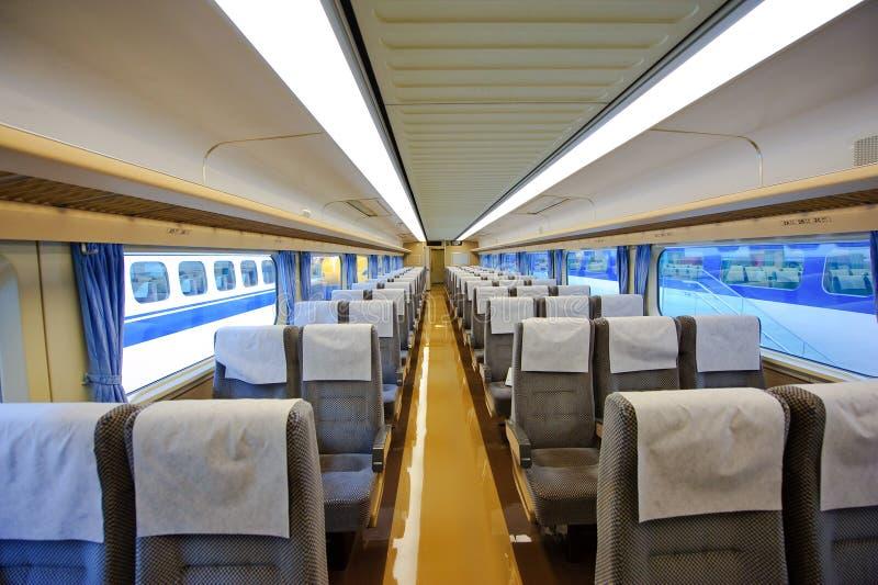 Interior de Japão Shinkansen imagens de stock