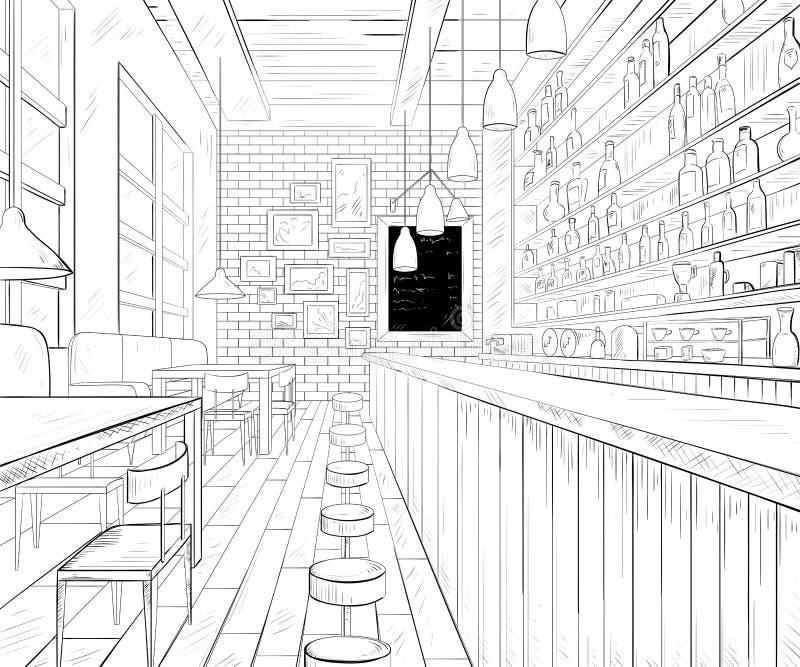 Interior de la barra del café stock de ilustración