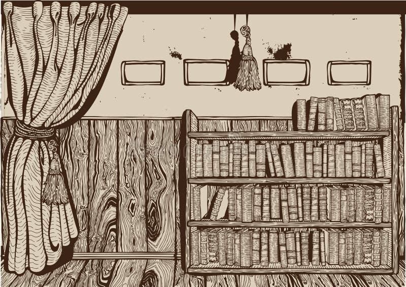 Interior de la biblioteca de la vendimia. libre illustration