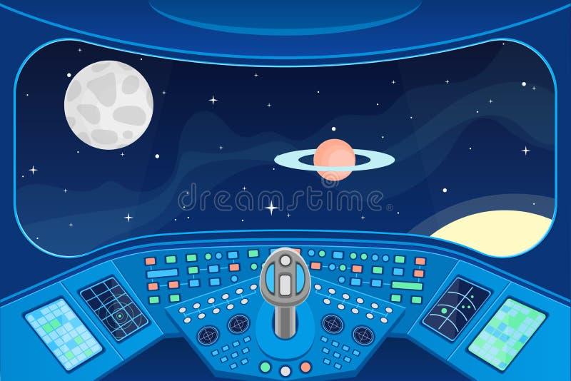 Interior de la cabina de la nave espacial y ventana de la visión a la tarjeta del fondo del espacio Vector ilustración del vector