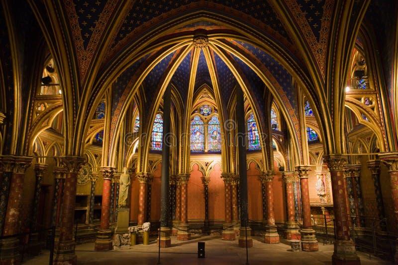 Interior de la capilla de Sainte-Chapelle del La imagenes de archivo