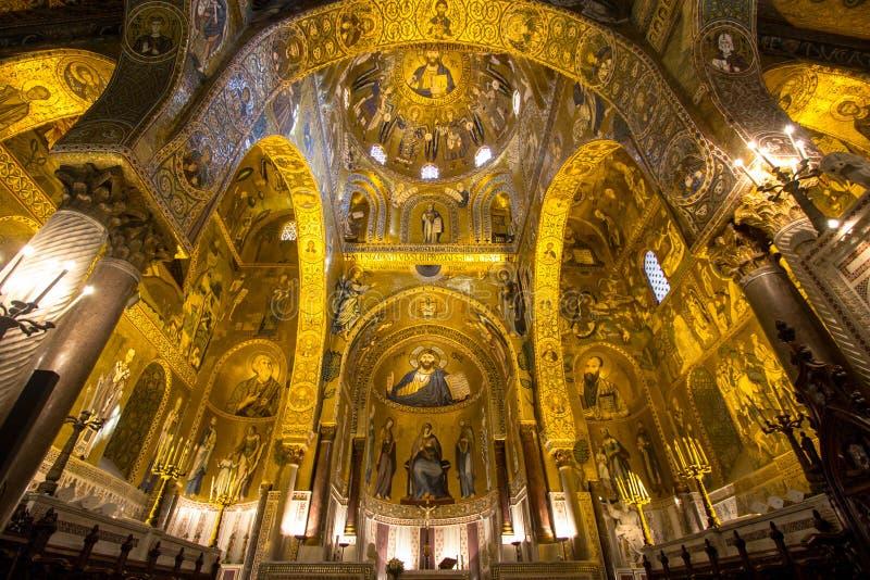Interior de la capilla de Palatine, Palermo, Italia fotografía de archivo