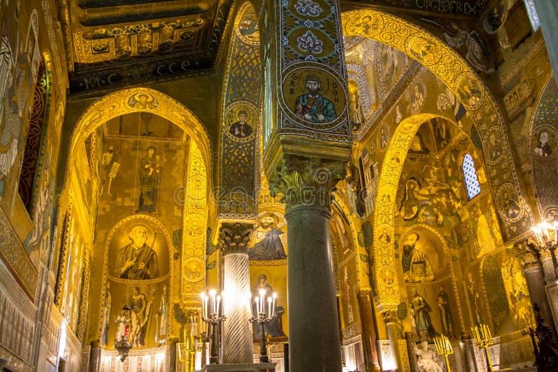 Interior de la capilla de Palatine, Palermo, Italia fotos de archivo