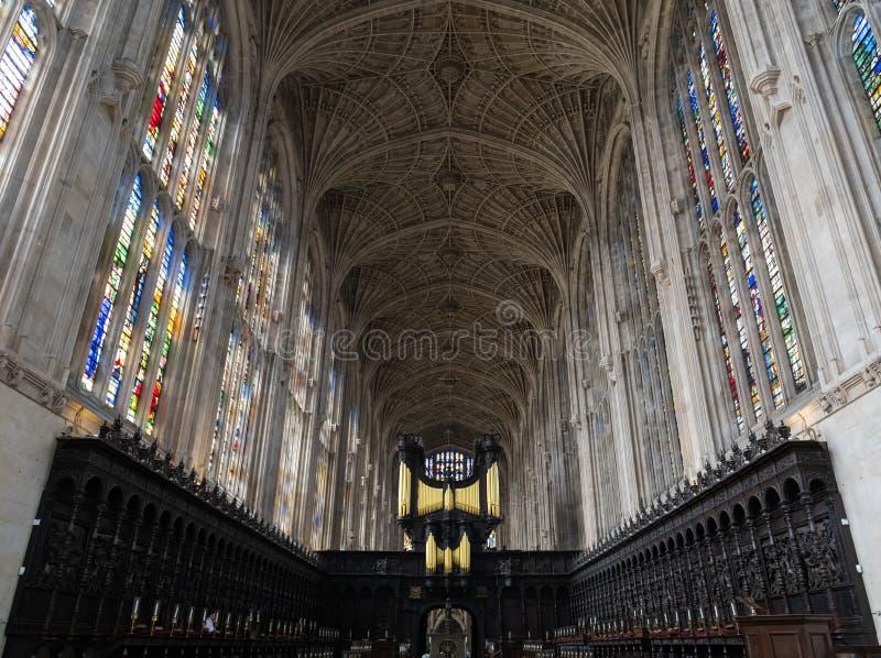 Interior de la capilla de la universidad del ` s del rey fotografía de archivo