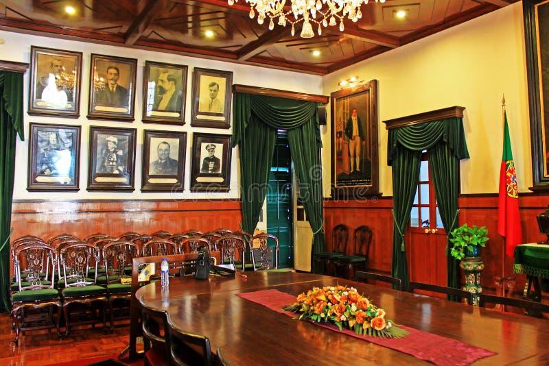 Interior de la casa santa de la misericordia, Macao, China imagenes de archivo