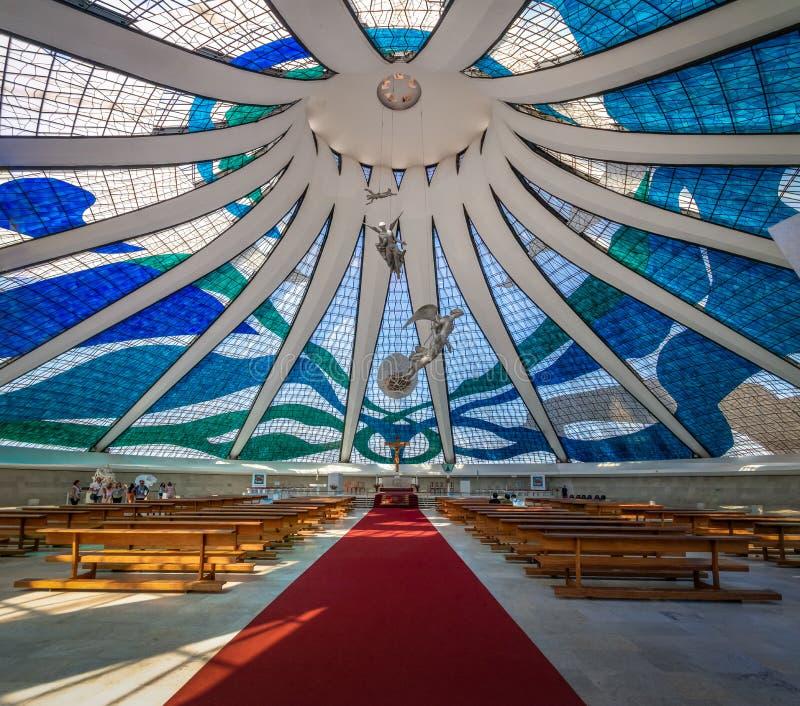 Interior de la catedral de Brasilia - Brasilia, el Brasil imágenes de archivo libres de regalías
