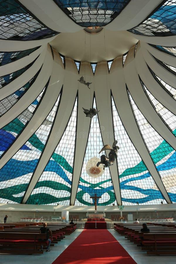 Interior de la catedral de Brasilia - Brasilia, el Brasil imagen de archivo libre de regalías