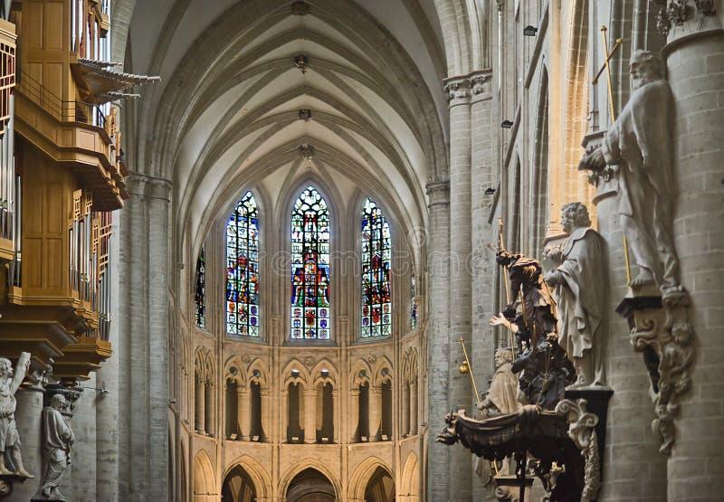 Interior de la catedral de Bruselas foto de archivo libre de regalías