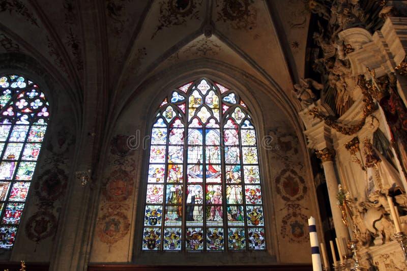 Interior de la catedral de nuestra señora en Amberes foto de archivo libre de regalías