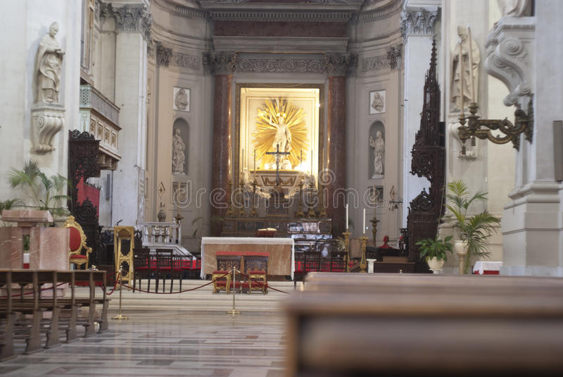 Interior de la catedral de Palermo foto de archivo libre de regalías