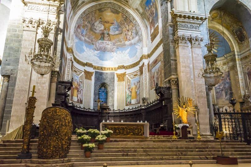 Interior de la catedral de Santa Agatha - Catania, Sicilia, Italia imagenes de archivo