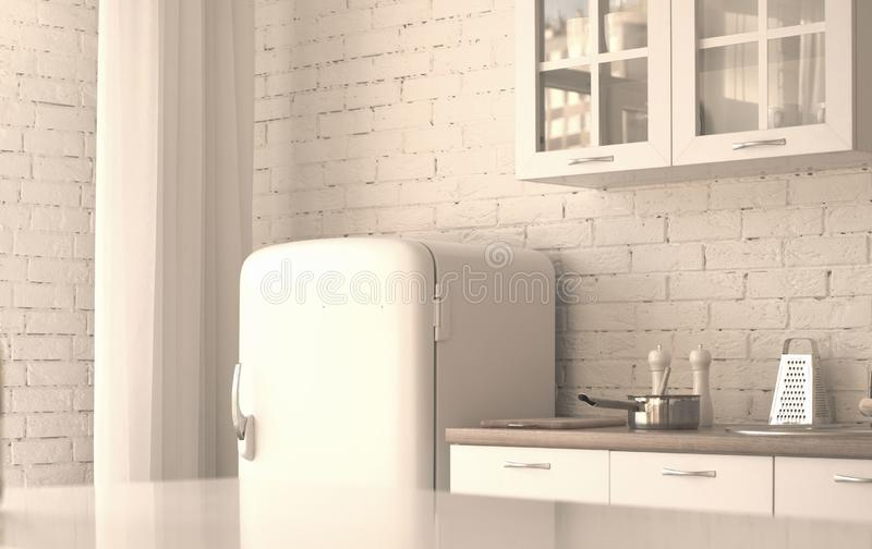 Interior de la cocina blanca imágenes de archivo libres de regalías
