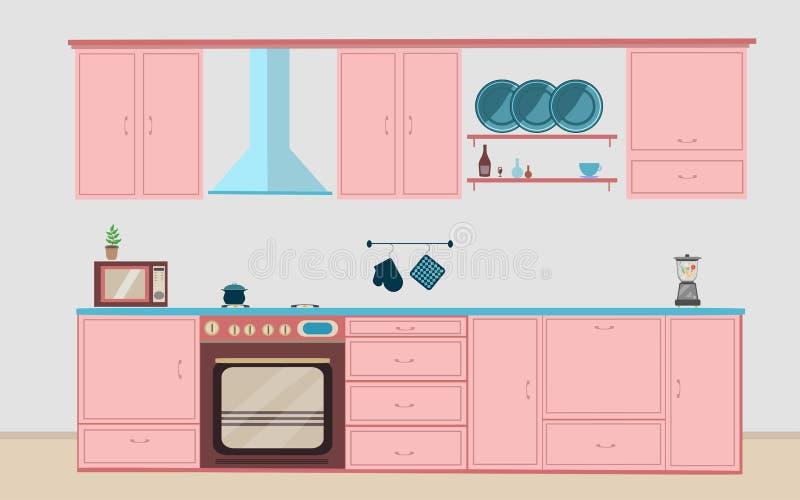 Interior de la cocina, cenando el ejemplo plano ilustración del vector