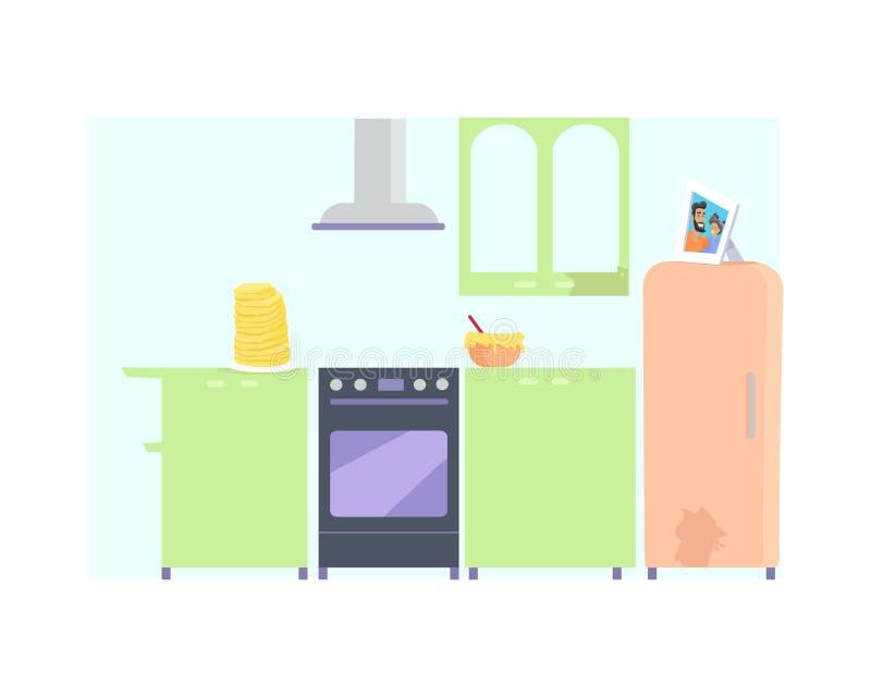 Interior de la cocina con muebles ilustración del vector