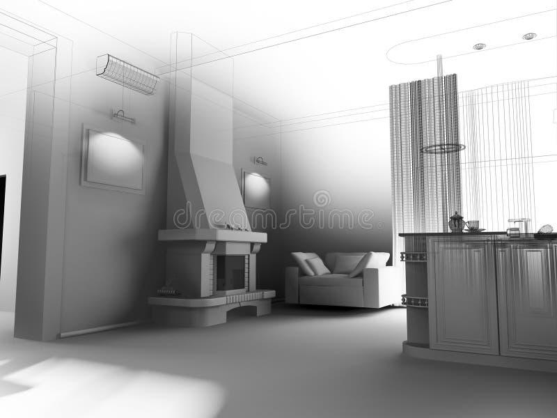 Interior de la cocina con una chimenea libre illustration