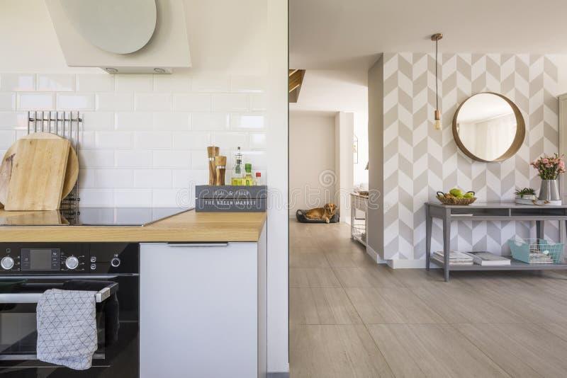 Interior de la cocina del espacio abierto con el horno y las especias modernos en cuenta fotos de archivo libres de regalías