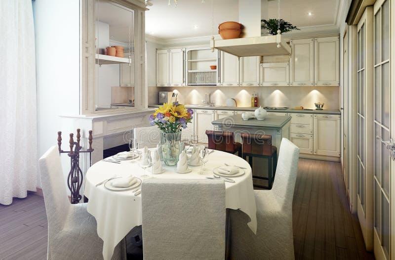Interior de la cocina del estilo de Provence, comedor libre illustration