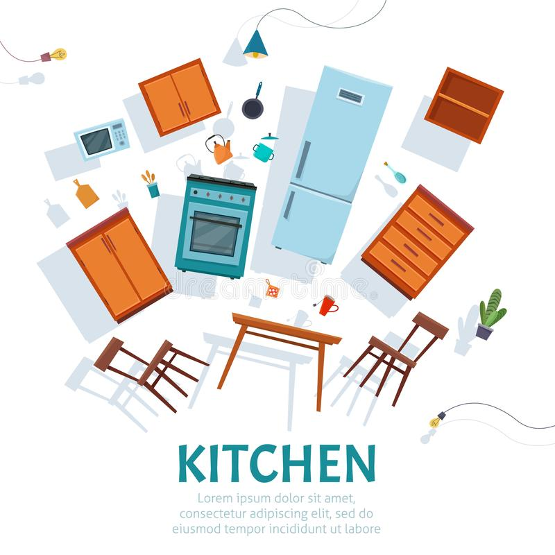 Interior de la cocina del flotador con los muebles que asoman en el fondo blanco libre illustration