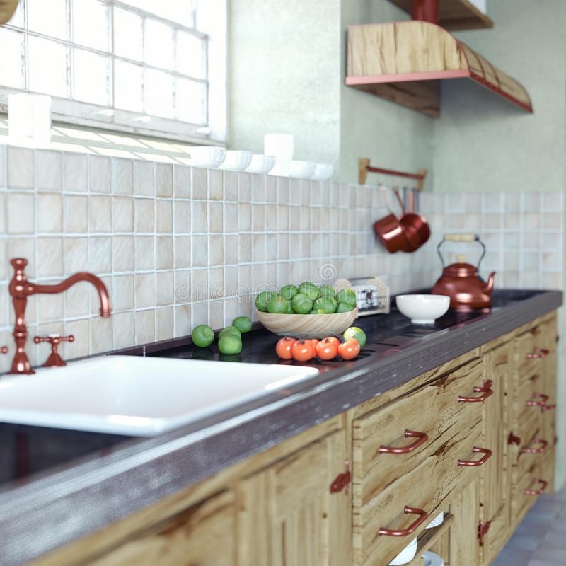Interior de la cocina del vintage ilustración del vector