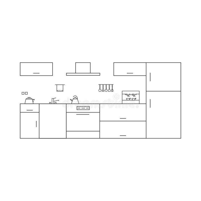 Interior de la cocina en estilo de alta tecnología libre illustration