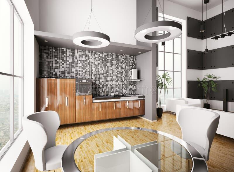 Interior de la cocina moderna 3d libre illustration