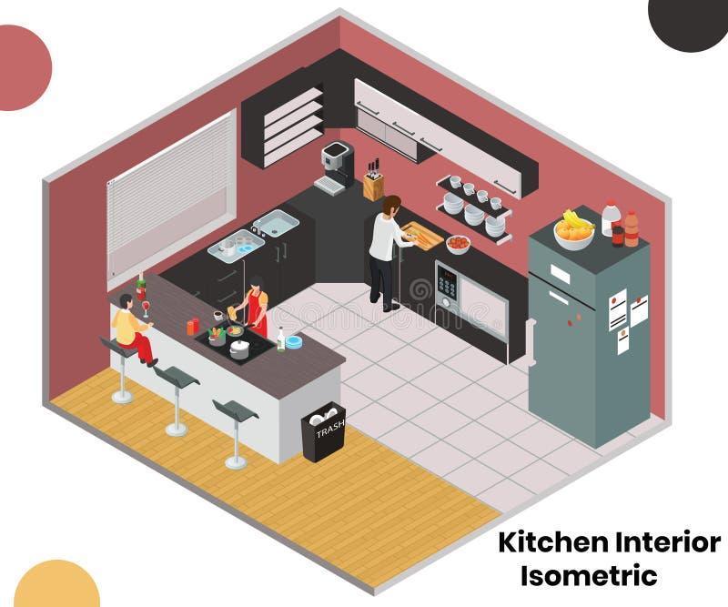 Interior de la cocina de un concepto isométrico casero de las ilustraciones stock de ilustración