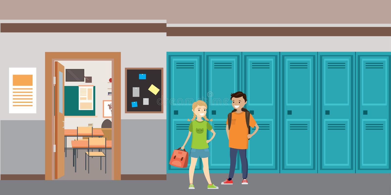Interior de la escuela de la historieta, colegial caucásico y colegiala con libre illustration