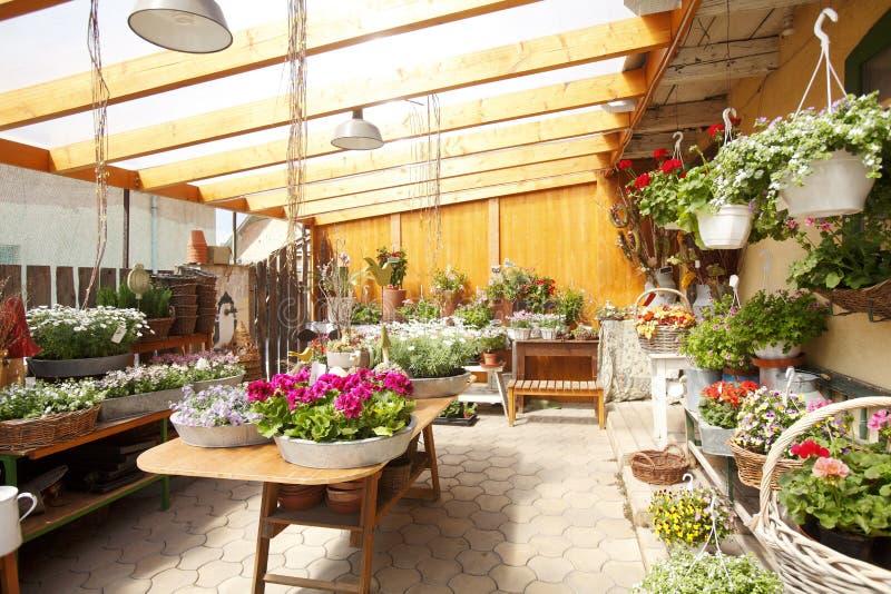 Interior de la floristería fotos de archivo